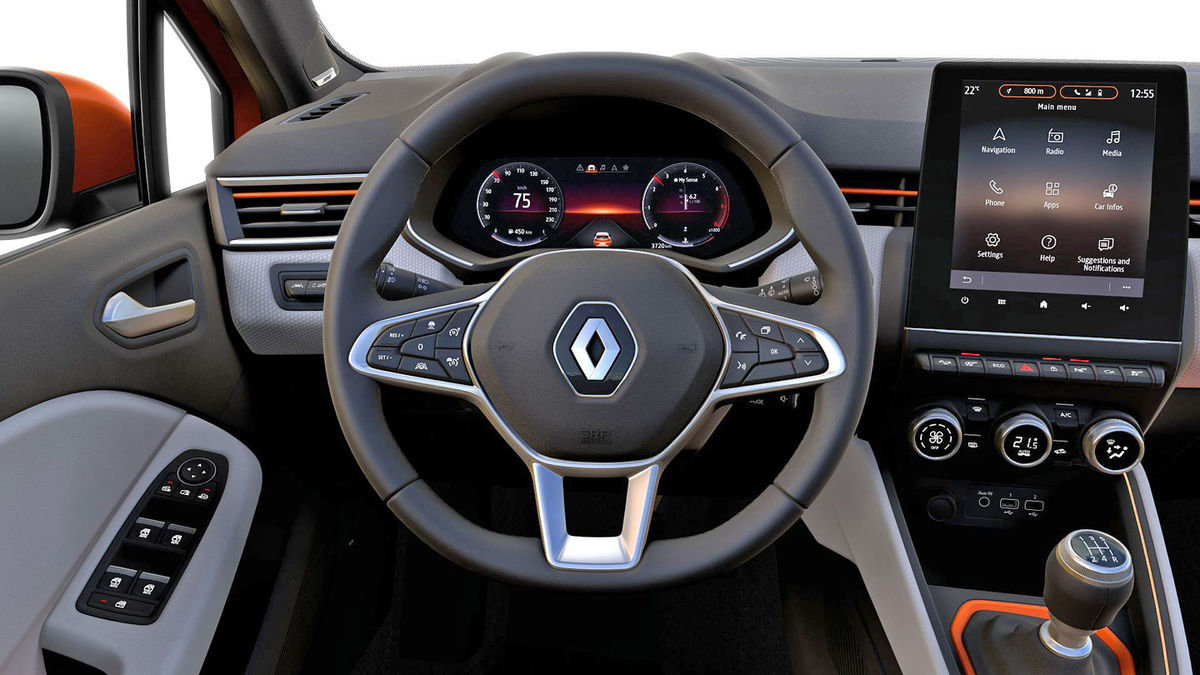 Renault Clio palubná doska, interiér, avis maxirent